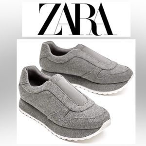 NWT Zara Gray Felt Platform Sneakers - 7.5 & 9